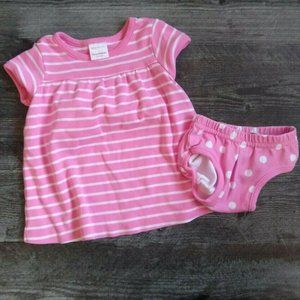 Hanna Andersson 60 Striped Dress Set Pink